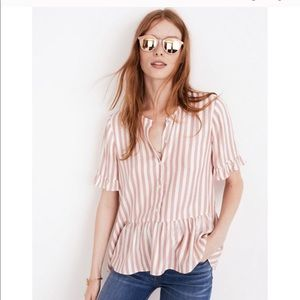 Madewell Cecilia PINK striped Top 🍒